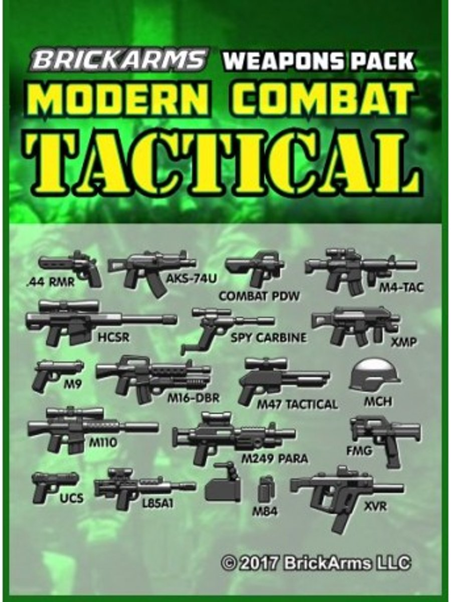 Brickarms Modern Combat Pack - Tactical Pack LEGO wapen set voor Minifigures