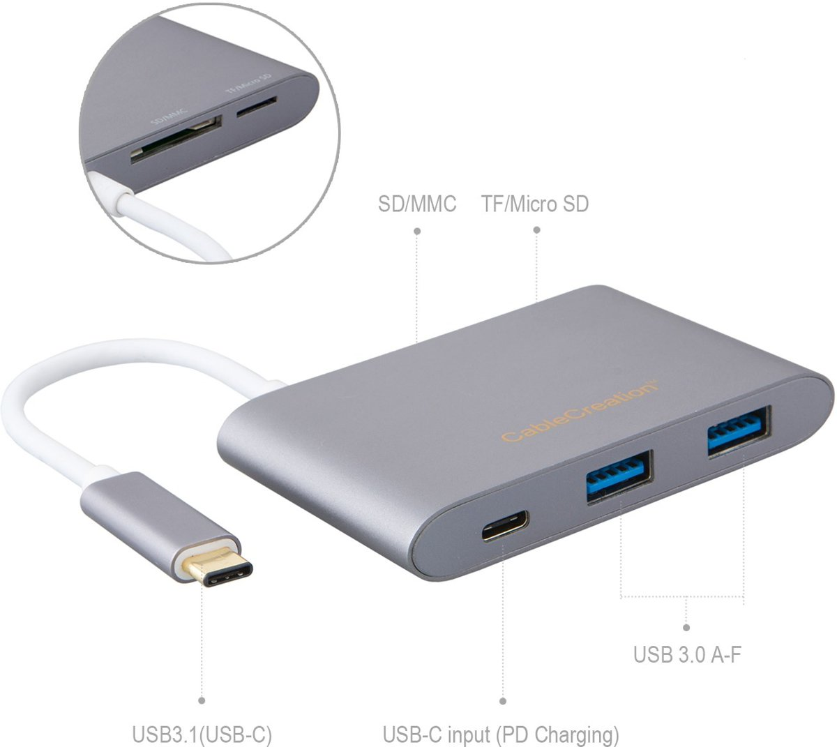 USB Type C HUB 3.1met 2 x USB3.0 Female + type c charging port + MicroSD+SD/MMC