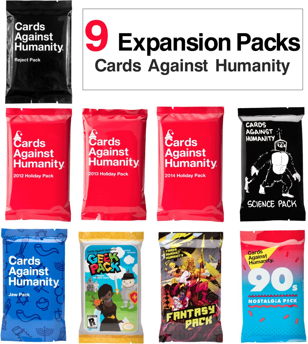 Cards Against Humanity 9 Expansion Packs Big Sale
