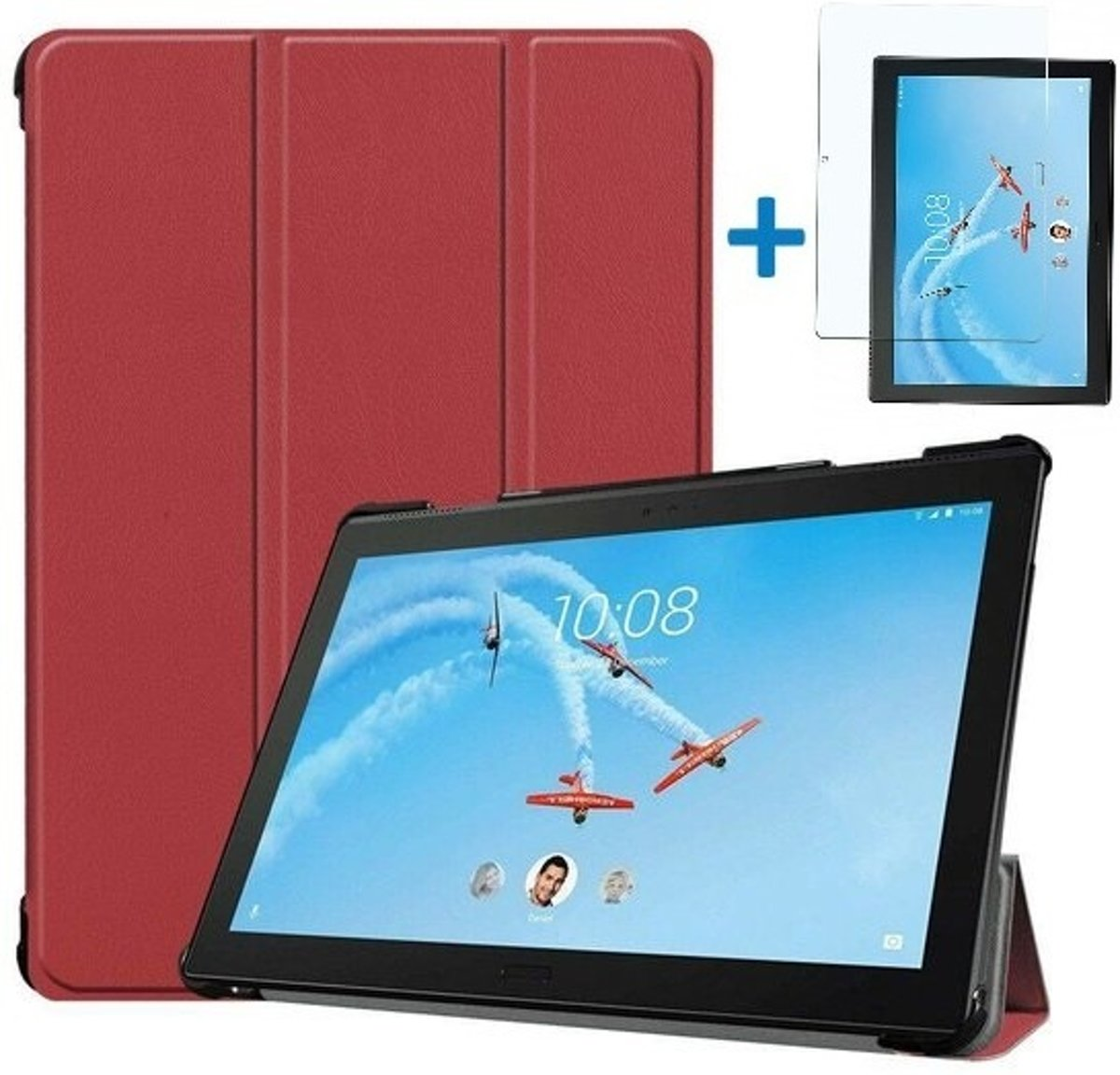 Lenovo Tab P10 Hoes  - Tri-Fold Book Case + Screenprotector - Donker Rood