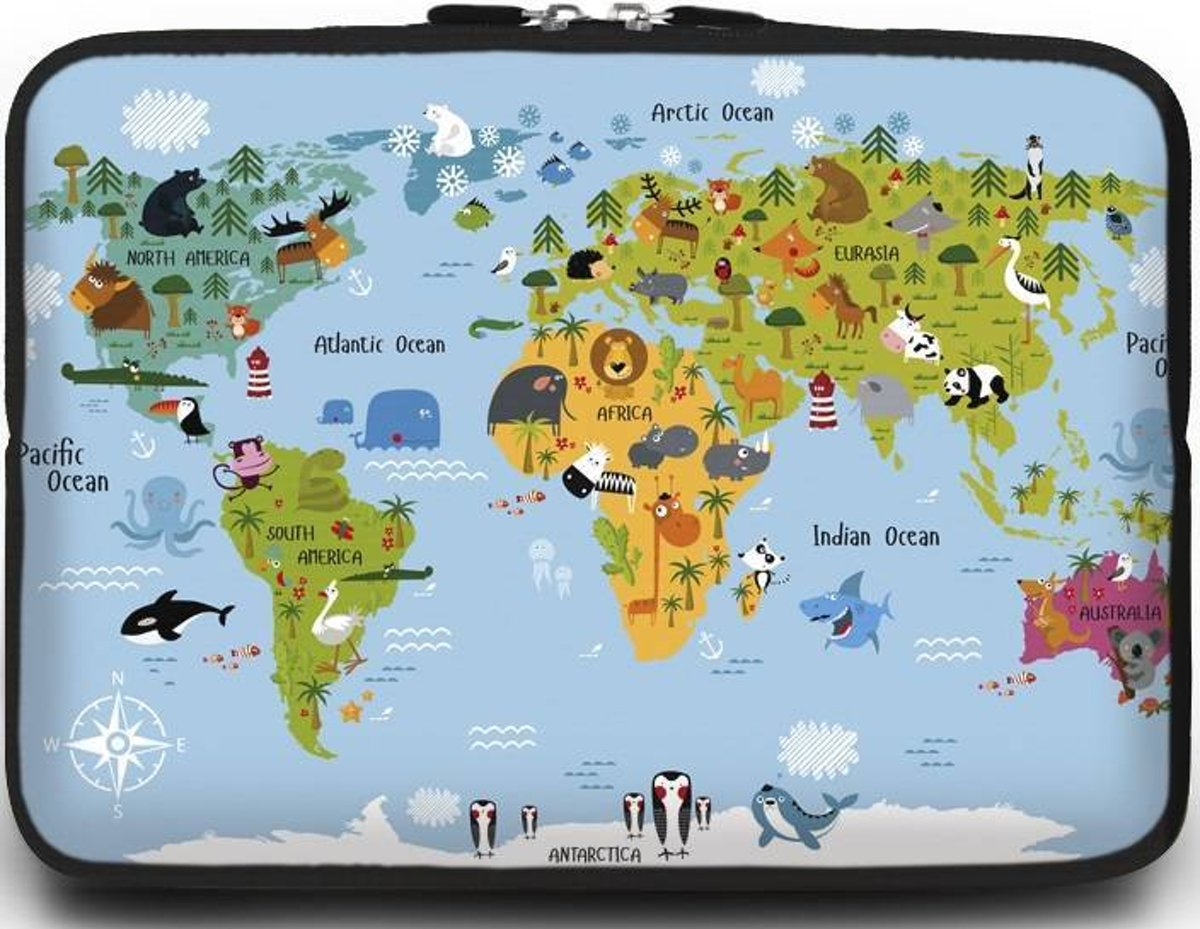 Universele Laptop Sleeve - 15.6 inch - Animal World Map