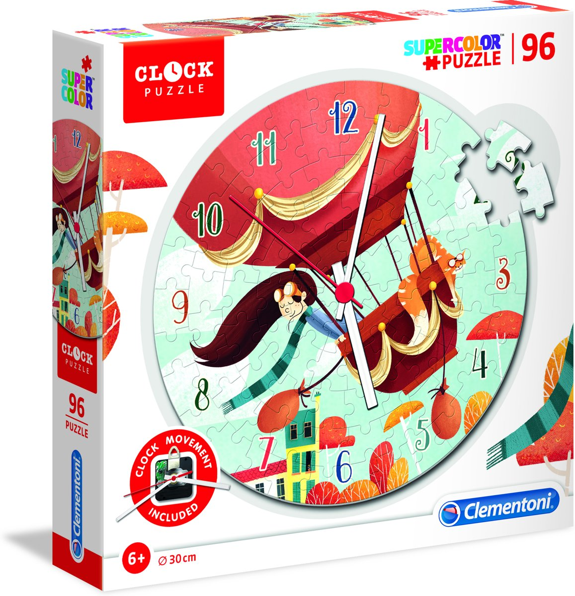 Clementoni - Klok-legpuzzel - Hot air balloon - 96 stukjes