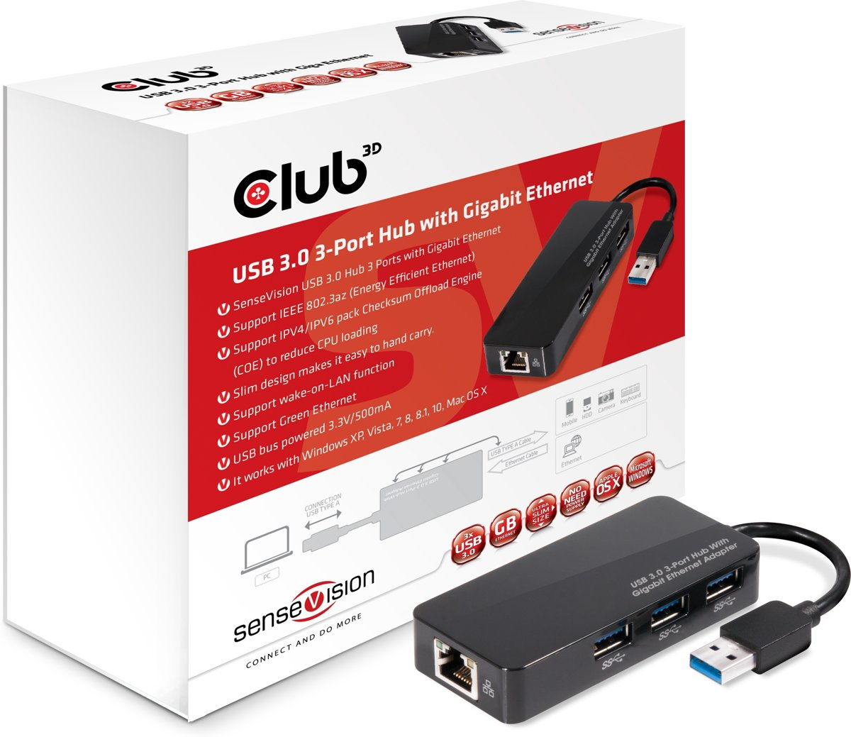 Club3D USB 3.0 HUB naar 3 x USB 3.0 + GIGABIT ETHERNET Adapter