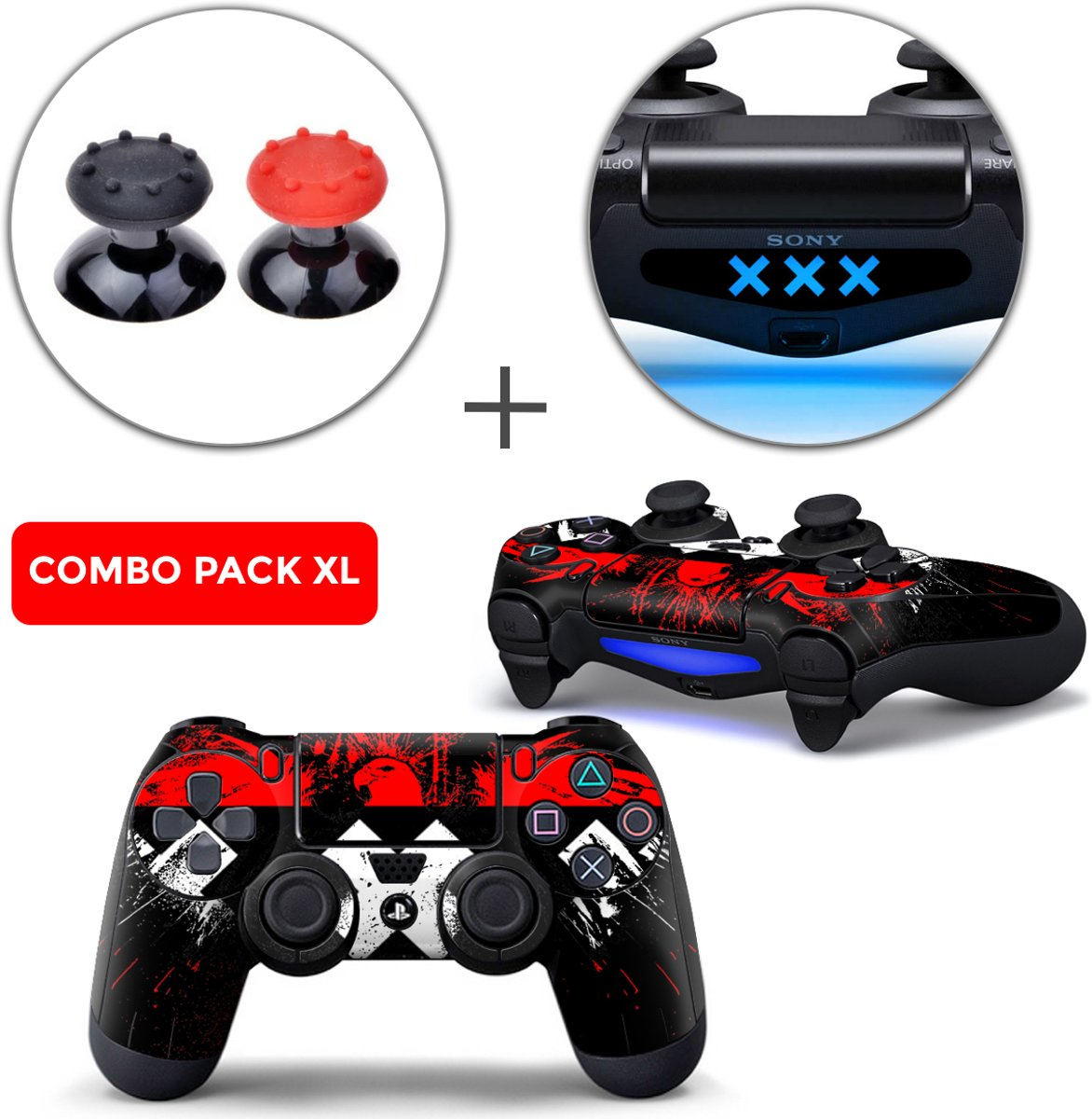 Amsterdam XXX Combo Pack XL - PS4 Controller Skins PlayStation Stickers + Thumb Grips + Lightbar Skin Sticker