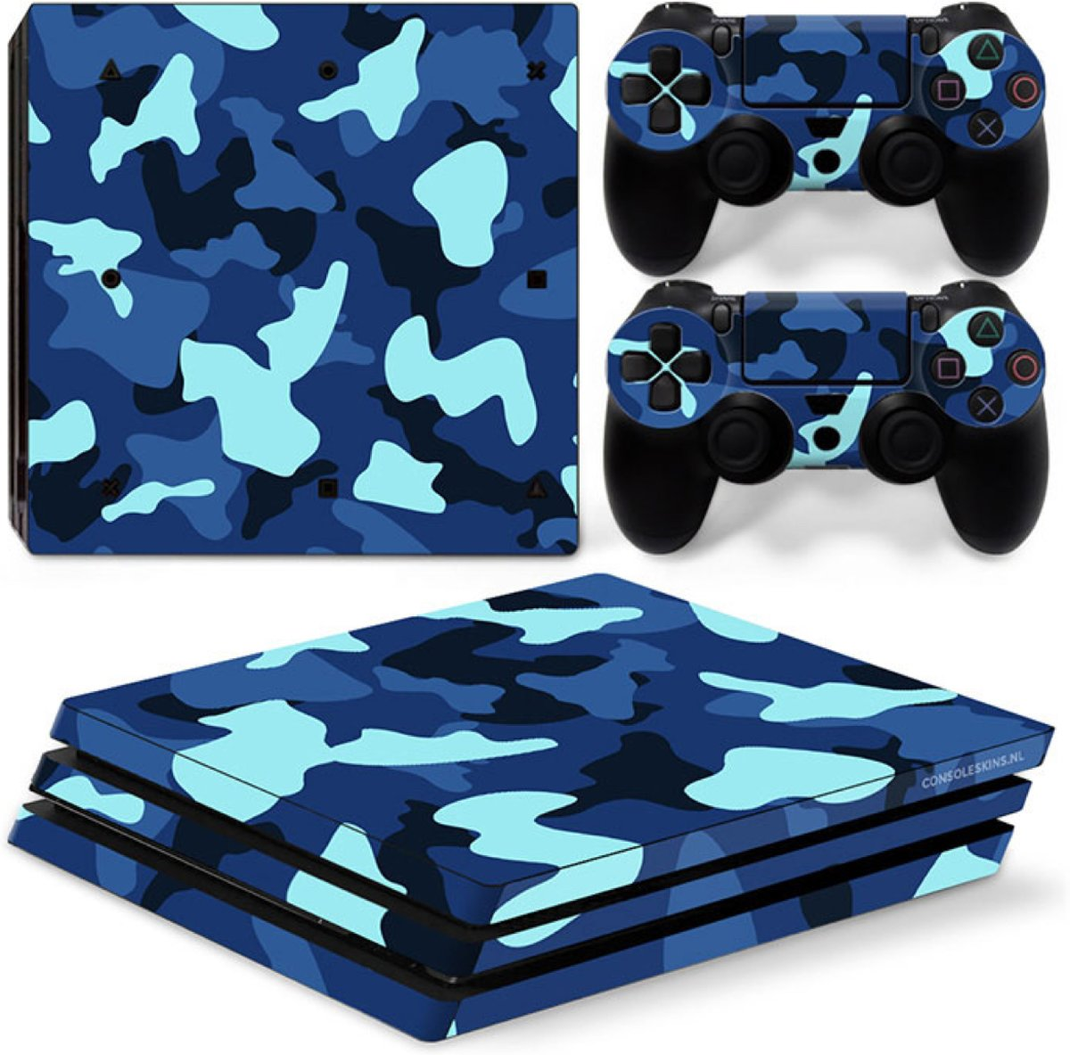 Army Camo / Blauw Zwart - PS4 Pro Console Skins PlayStation Stickers
