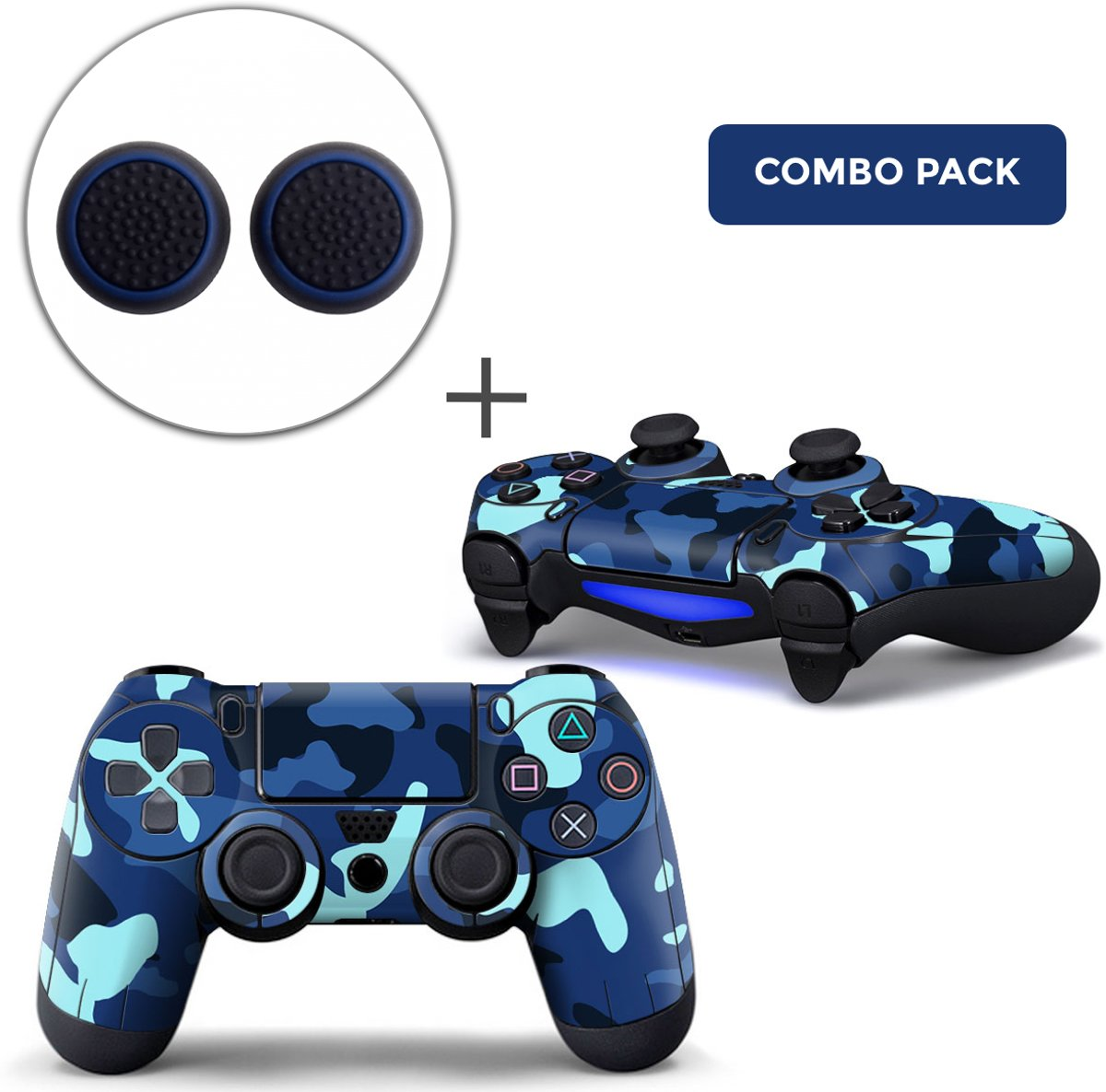 Army Camo / Blauw Zwart Combo Pack - PS4 Controller Skins PlayStation Stickers + Thumb Grips