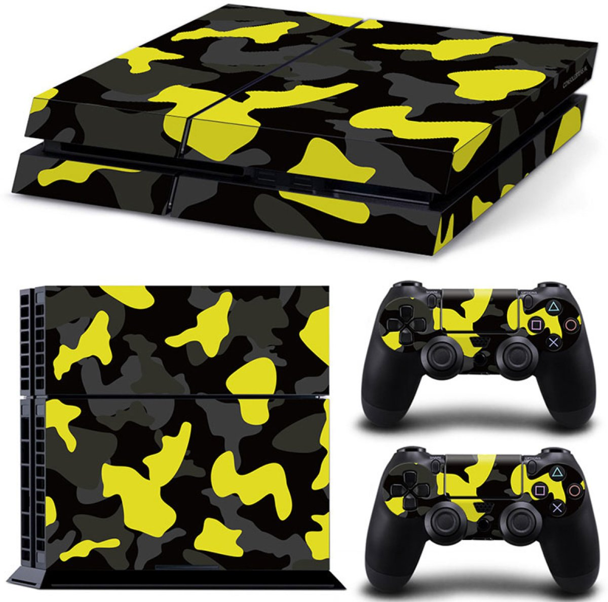 Army Camo / Geel Zwart - PS4 Console Skins PlayStation Stickers