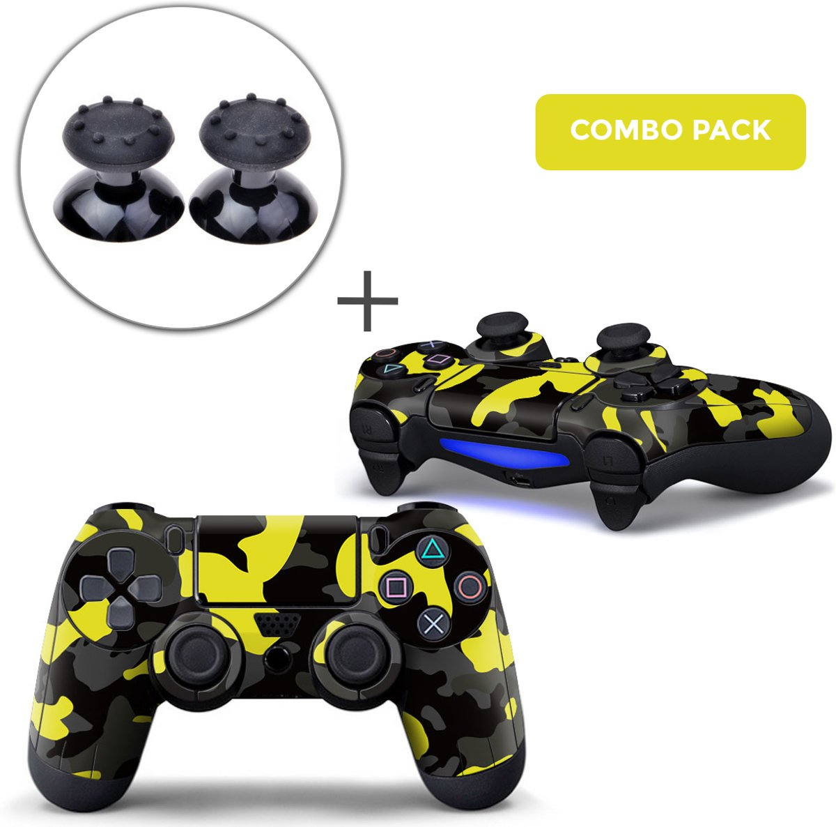 Army Camo / Geel Zwart Combo Pack - PS4 Controller Skins PlayStation Stickers + Thumb Grips