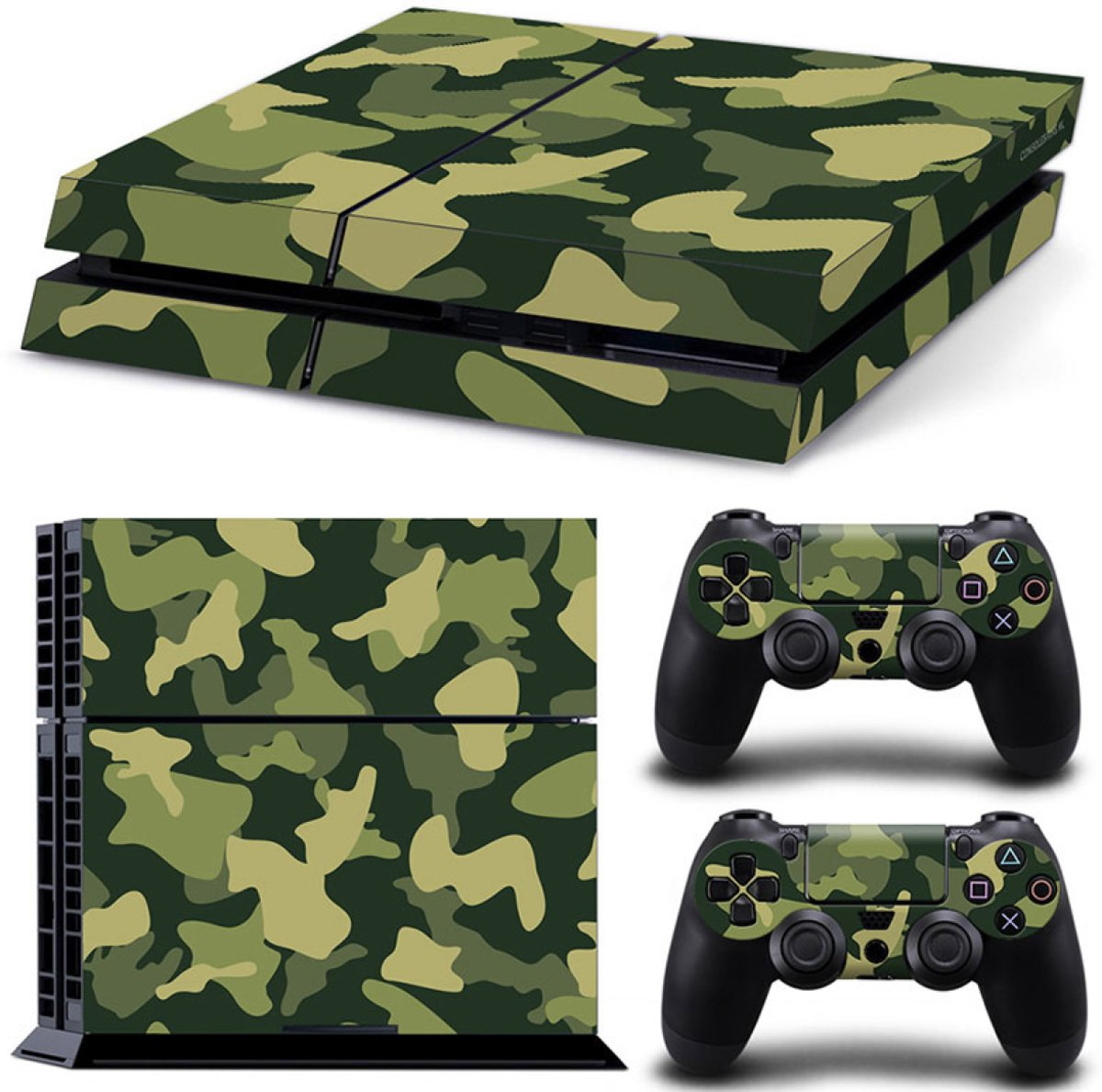 Army Camo / Groen Zwart - PS4 Console Skins PlayStation Stickers