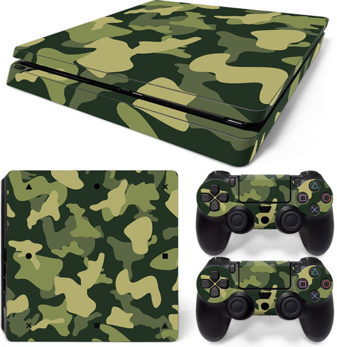 Army Camo / Groen Zwart - PS4 Slim Console Skins PlayStation Stickers
