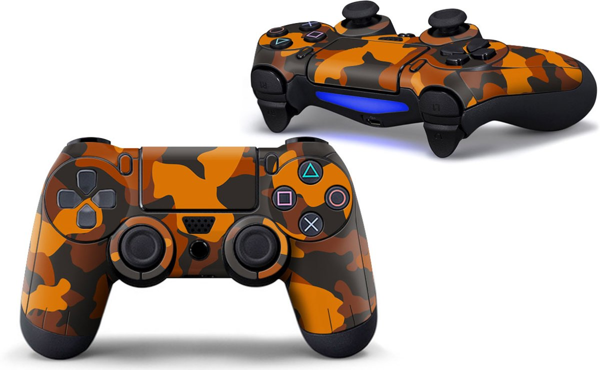 Army Camo / Oranje Zwart - PS4 Controller Skins PlayStation Stickers