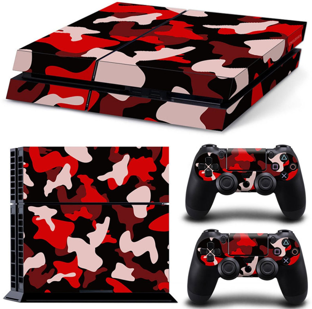 Army Camo / Rood Zwart - PS4 Console Skins PlayStation Stickers