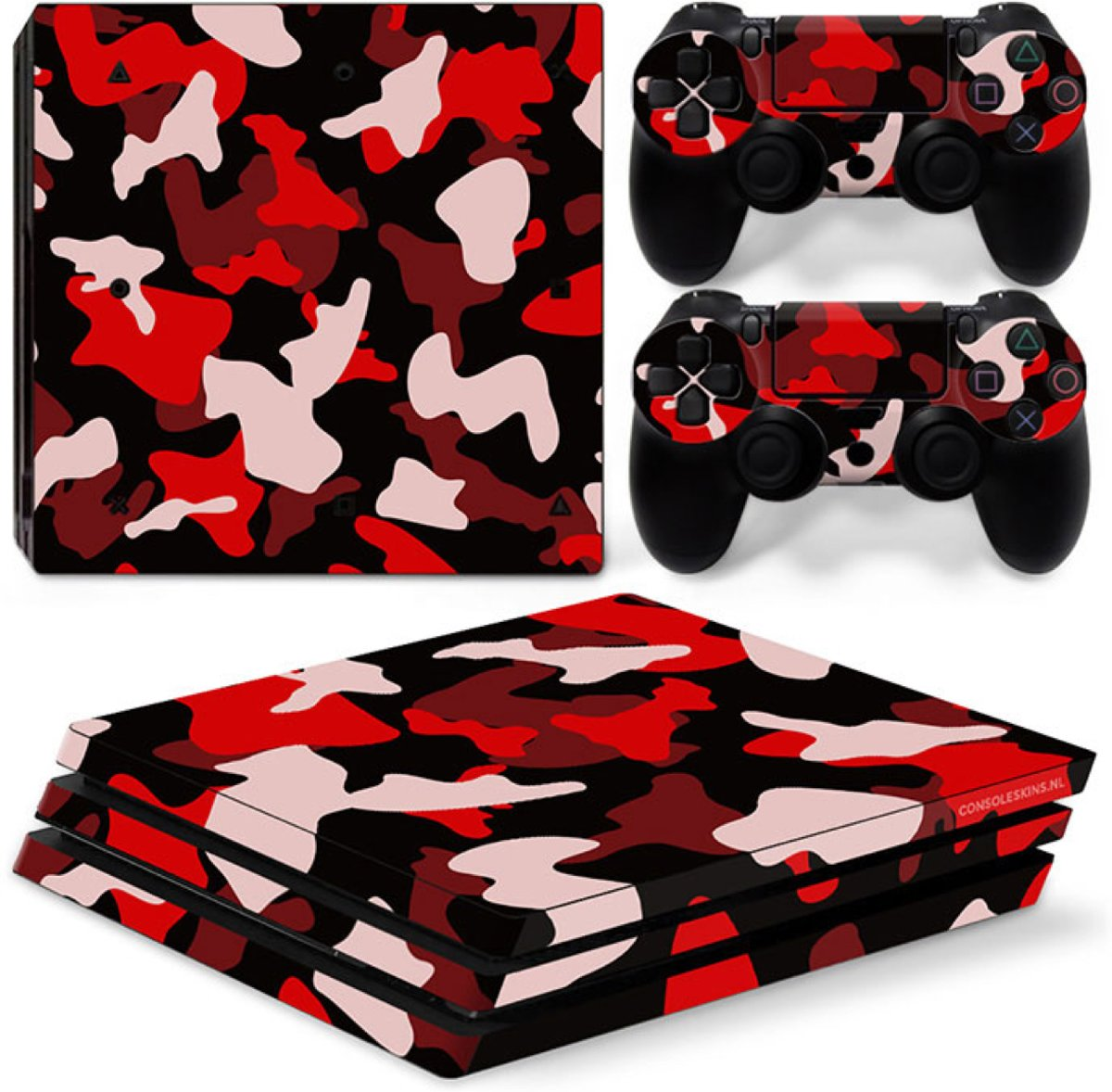 Army Camo / Rood Zwart - PS4 Pro Console Skins PlayStation Stickers
