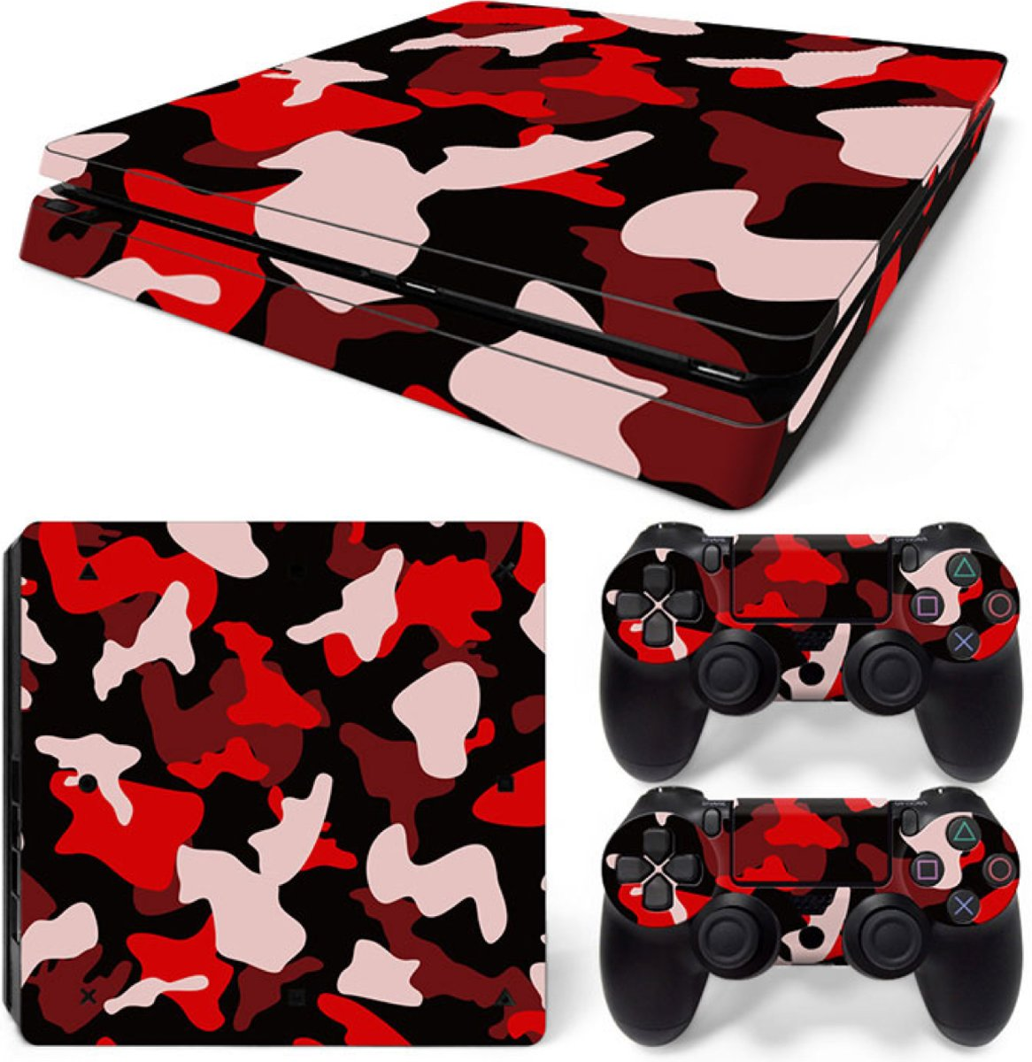 Army Camo / Rood Zwart - PS4 Slim Console Skins PlayStation Stickers