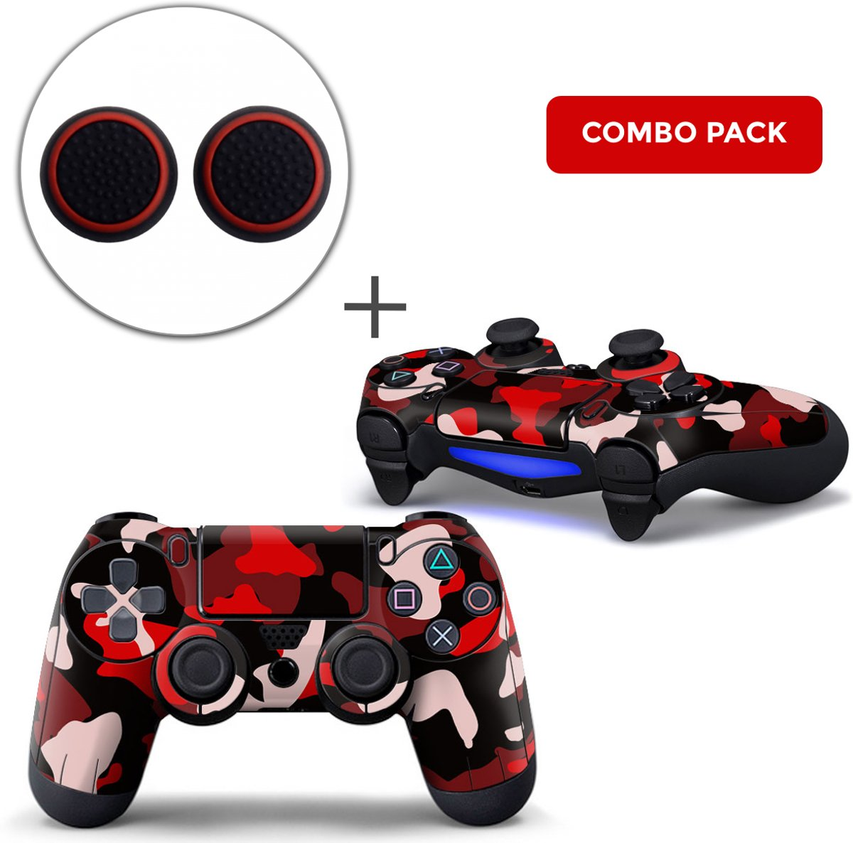 Army Camo / Rood Zwart Combo Pack - PS4 Controller Skins PlayStation Stickers + Thumb Grips