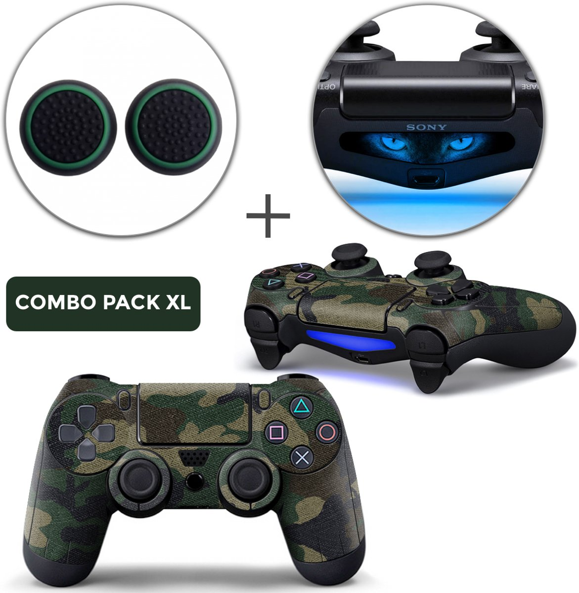 Army Camo Combo Pack XL - PS4 Controller Skins PlayStation Stickers + Thumb Grips + Lightbar Skin Sticker