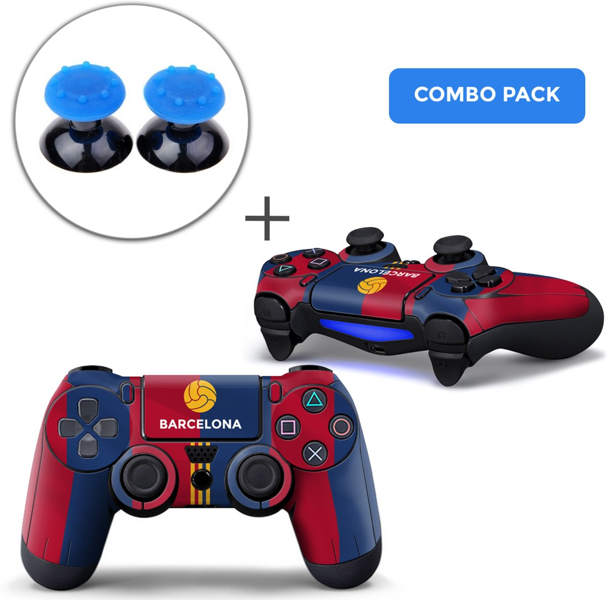 Barcelona Combo Pack - PS4 Controller Skins PlayStation Stickers + Thumb Grips Blauw