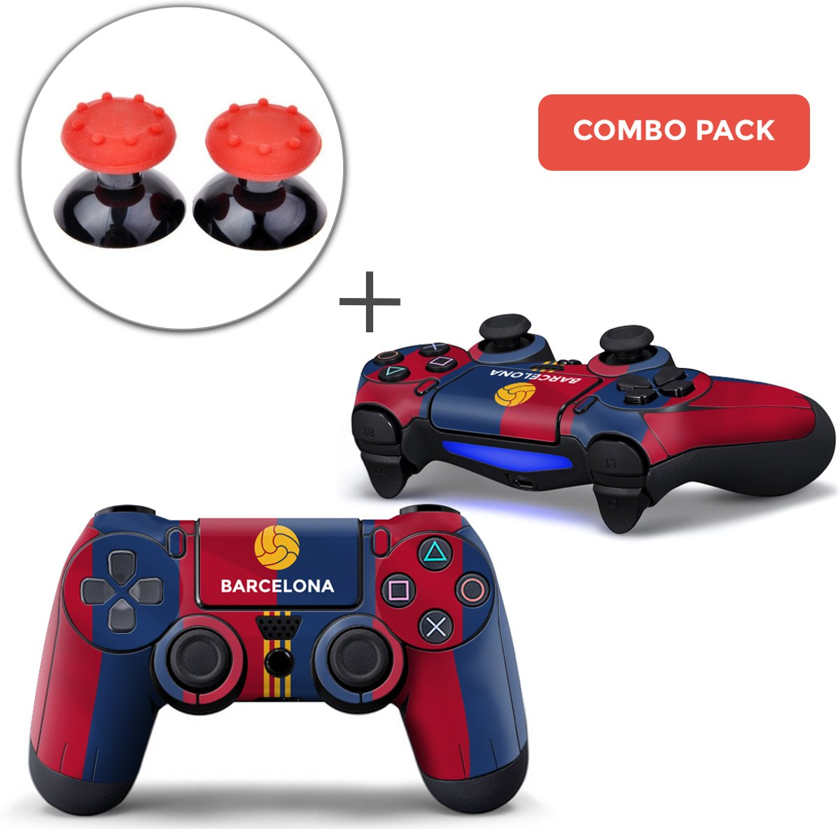 Barcelona Combo Pack - PS4 Controller Skins PlayStation Stickers + Thumb Grips Rood