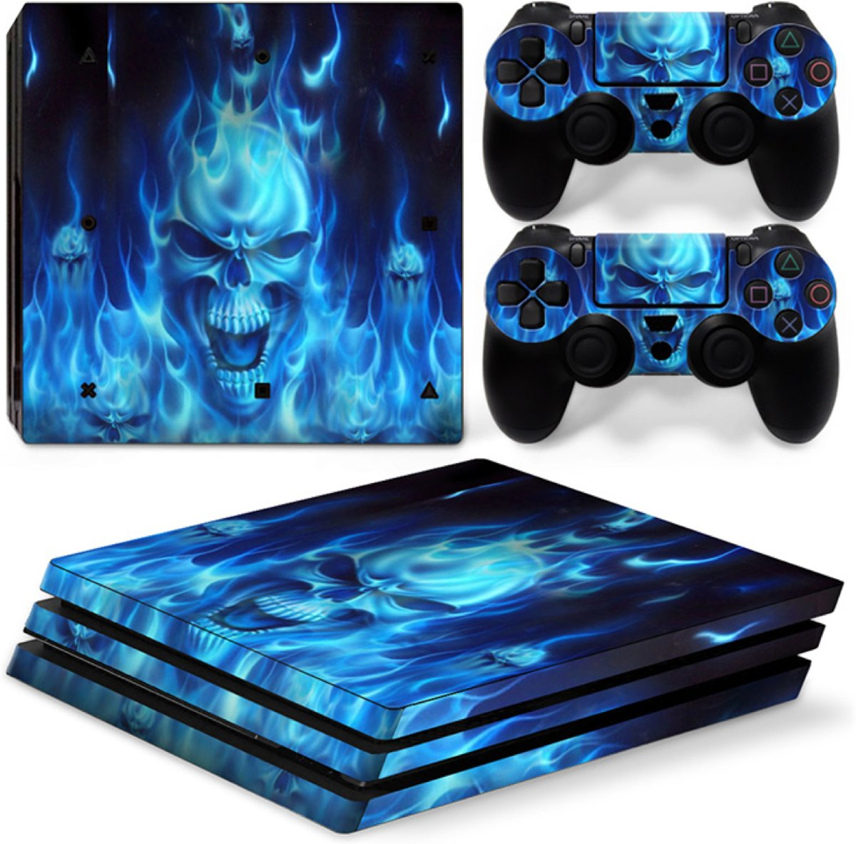Blue Skull - PS4 Pro Console Skins PlayStation Stickers
