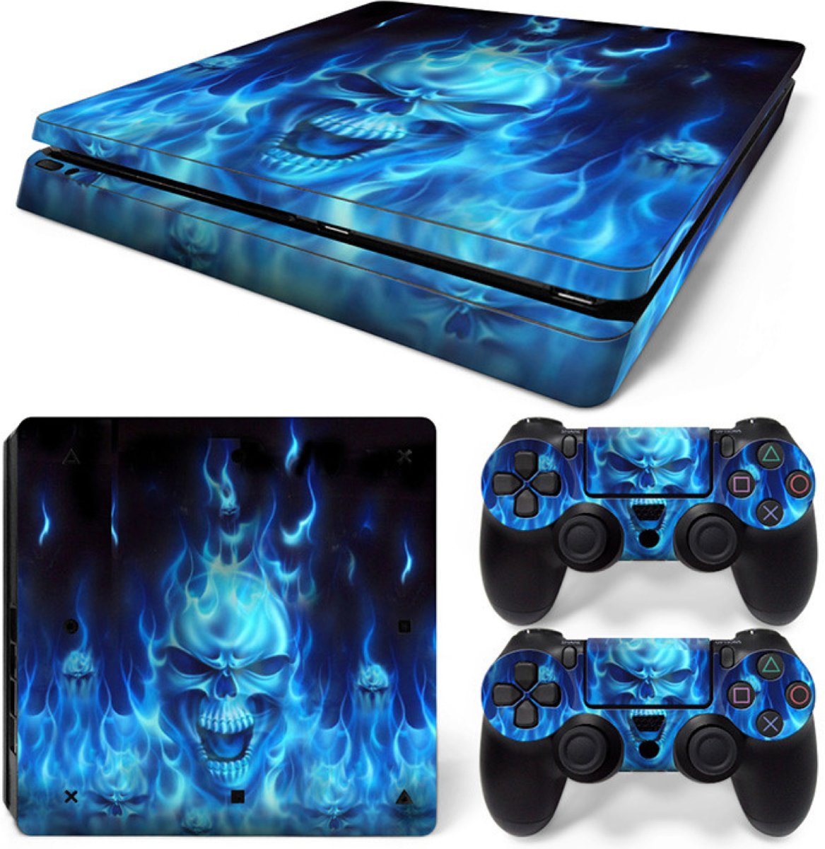 Blue Skull - PS4 Slim Console Skins PlayStation Stickers