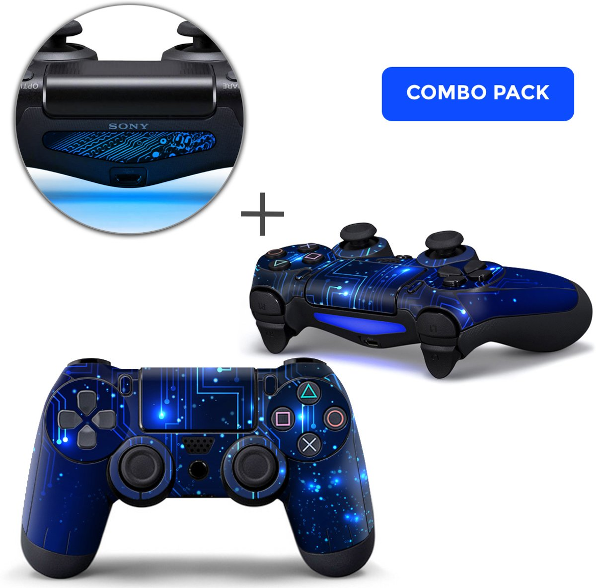 CPU / Blauw Combo Pack - PS4 Controller Skins PlayStation Stickers