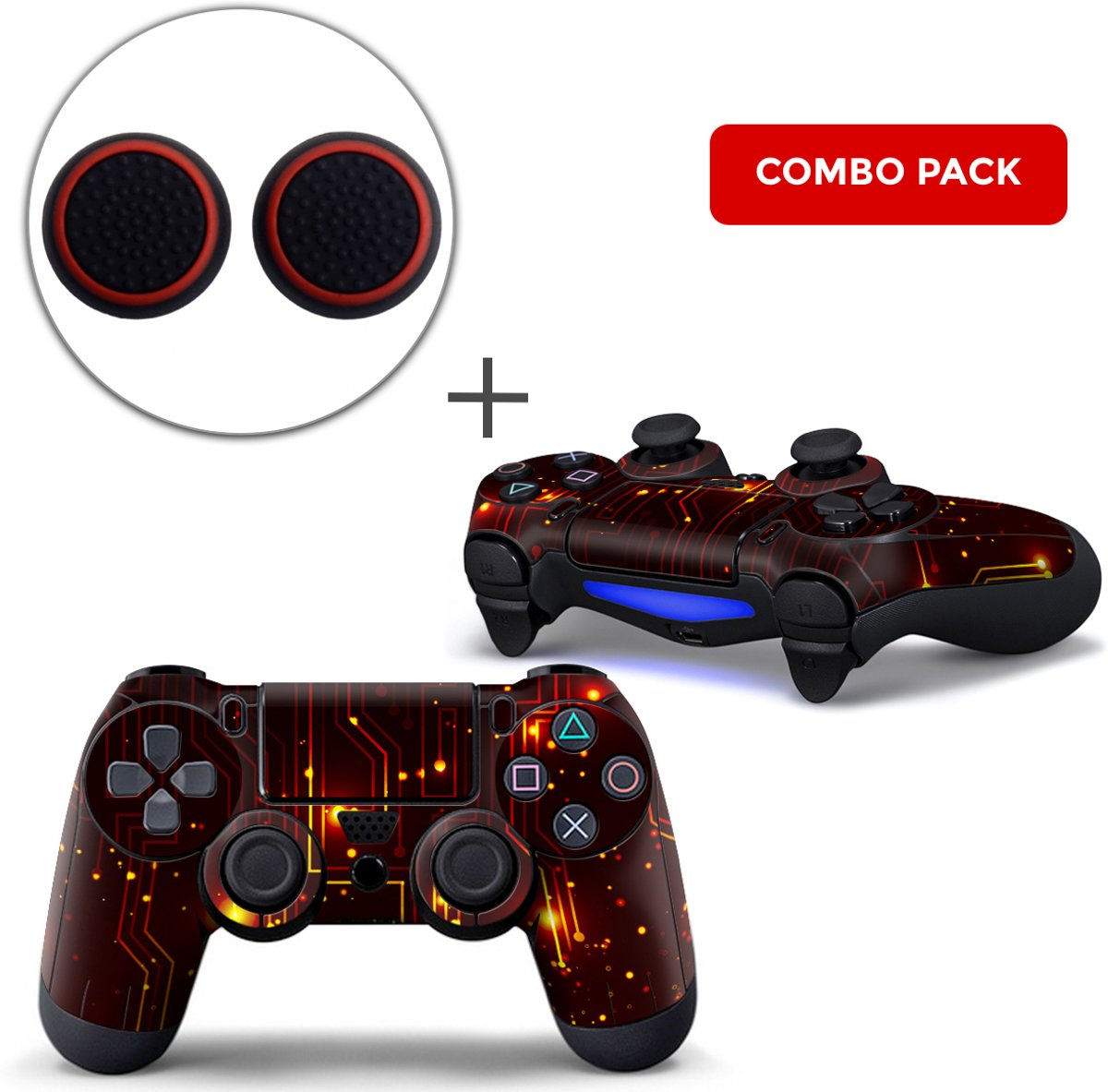 CPU / Rood Combo Pack - PS4 Controller Skins PlayStation Stickers + Thumb Grips