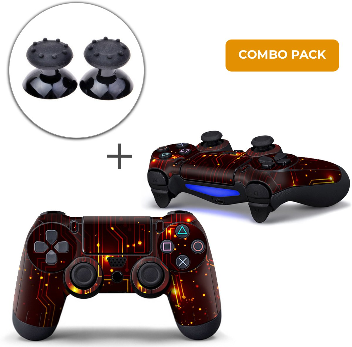 CPU / Rood Combo Pack - PS4 Controller Skins PlayStation Stickers + Thumb Grips Zwart