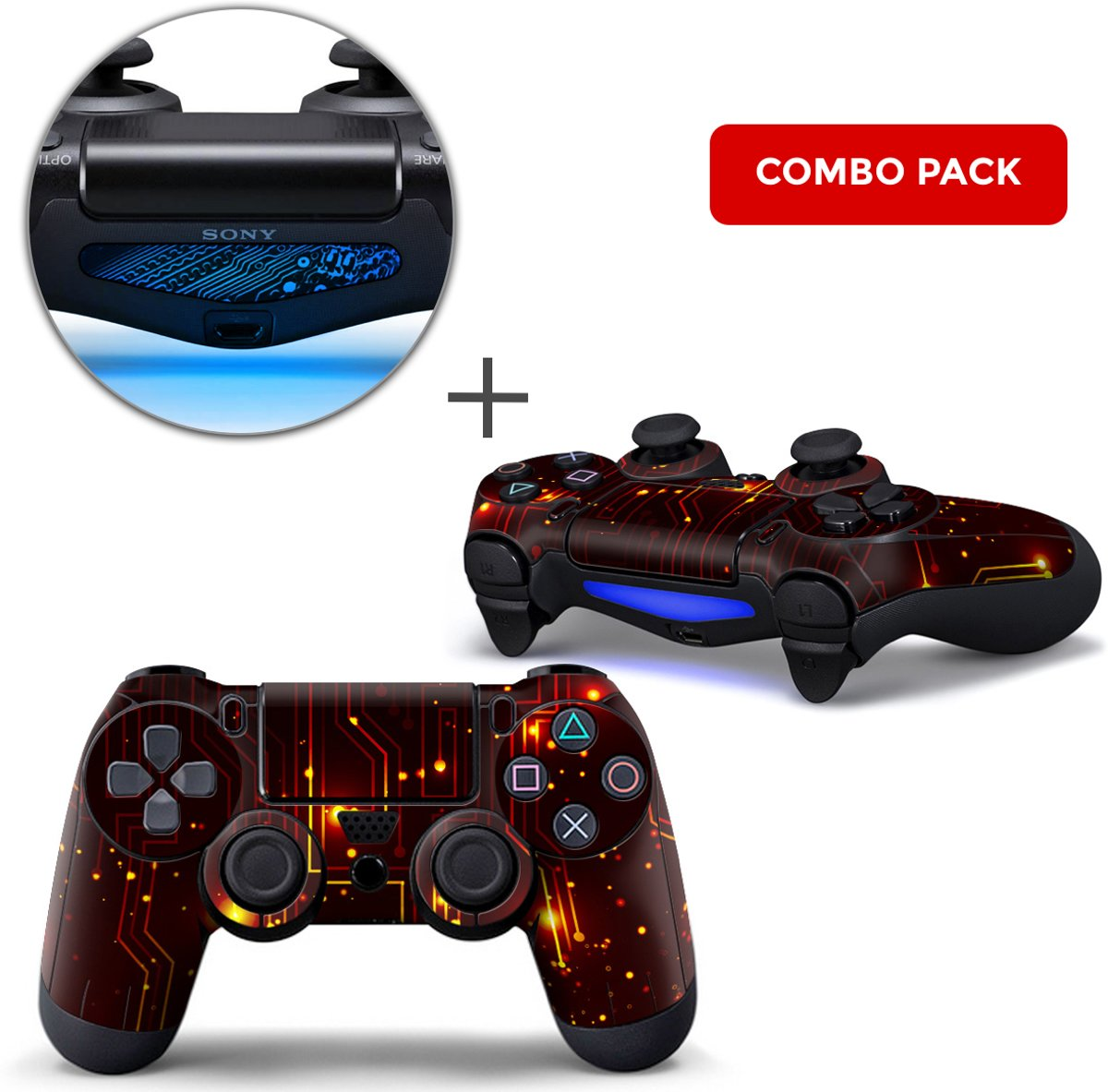 CPU / Rood Combo Pack - PS4 Controller Skins PlayStation Stickers