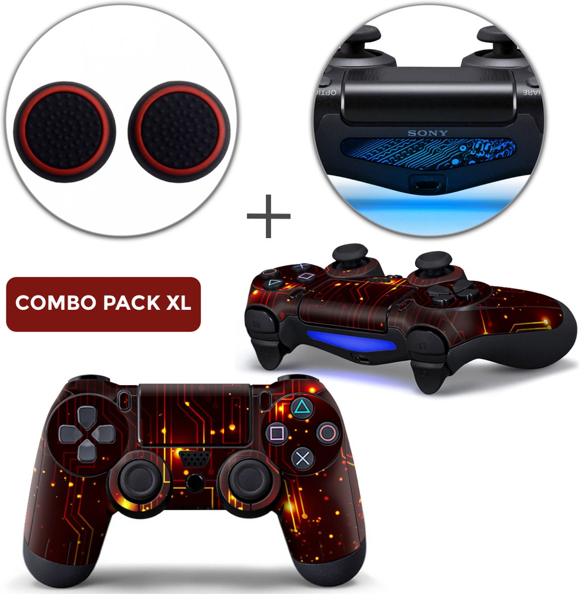 CPU / Rood Combo Pack XL - PS4 Controller Skins PlayStation Stickers + Thumb Grips + Lightbar Skin Sticker