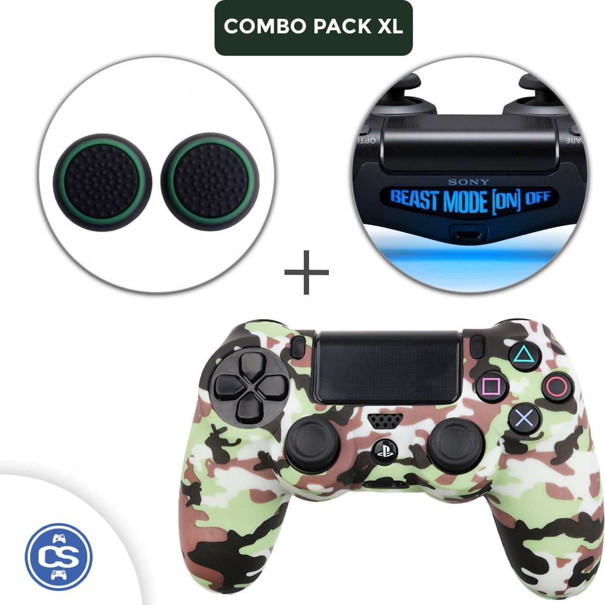 Camo Bruin Siliconen Beschermhoes + Thumb Grips + Lightbar Skin voor PS4 Dualshock PlayStation 4 Controller - Softcover Hoes / Case