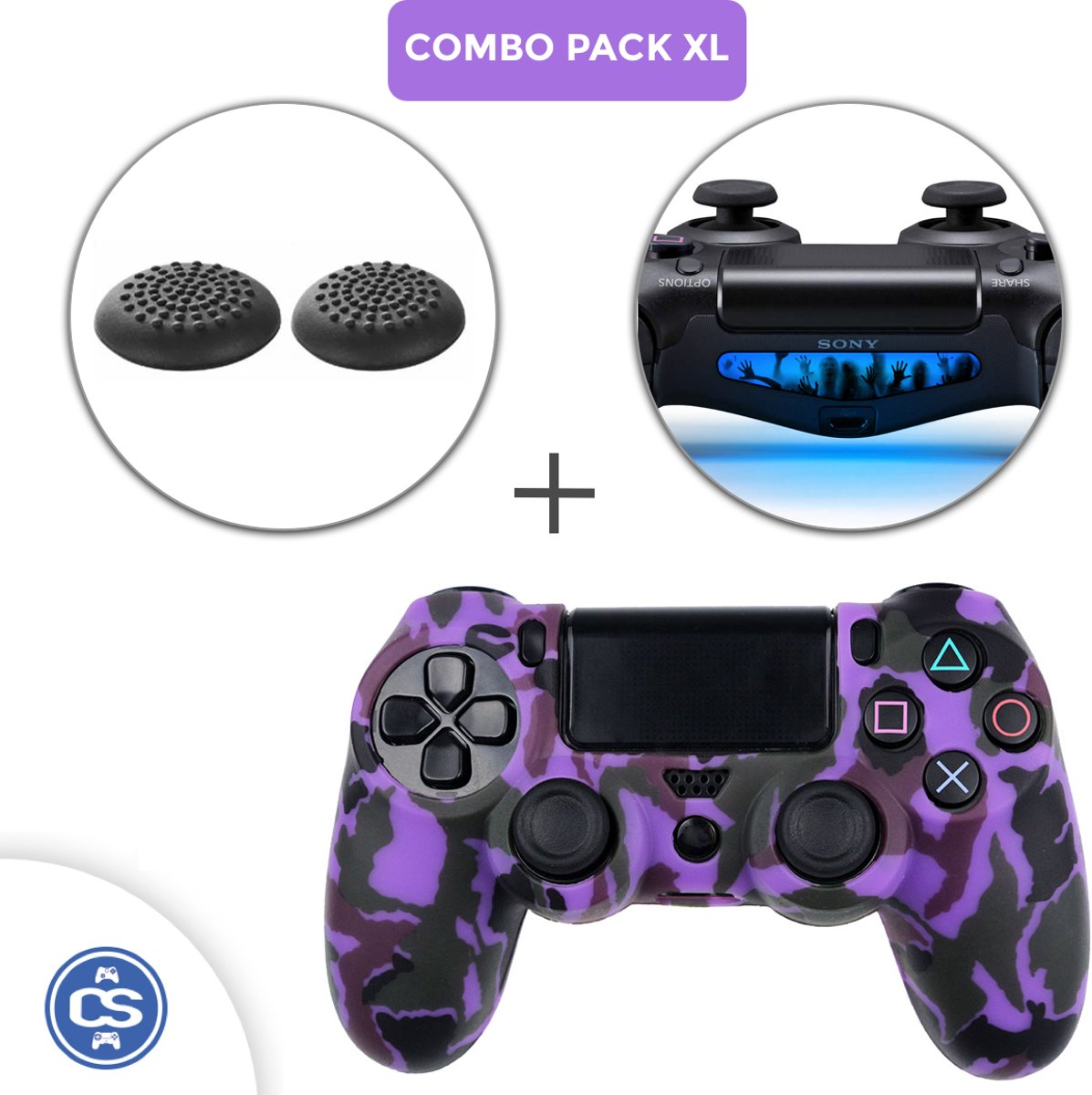 Camo Paars Siliconen Beschermhoes + Thumb Grips + Lightbar Skin voor PS4 Dualshock PlayStation 4 Controller - Softcover Hoes / Case
