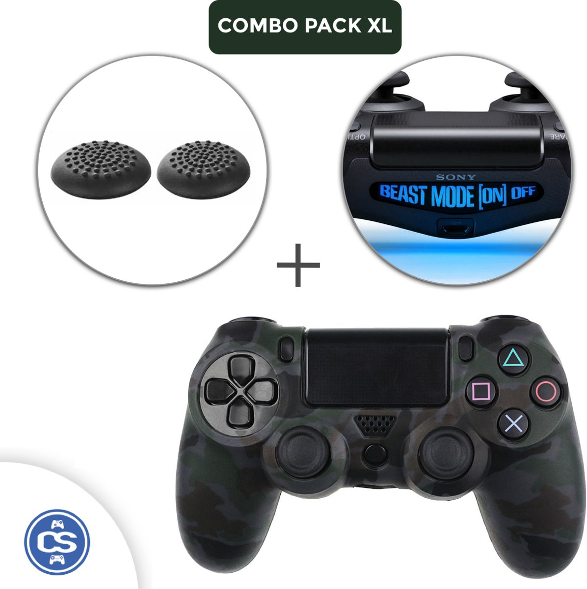 Camo Zwart Siliconen Beschermhoes + Thumb Grips + Lightbar Skin voor PS4 Dualshock PlayStation 4 Controller - Softcover Hoes / Case