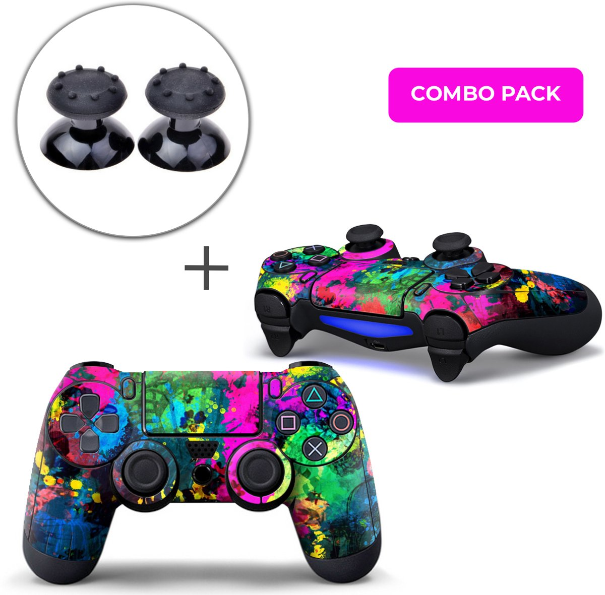 Color Splash Combo Pack - PS4 Controller Skins PlayStation Stickers + Thumb Grips Zwart