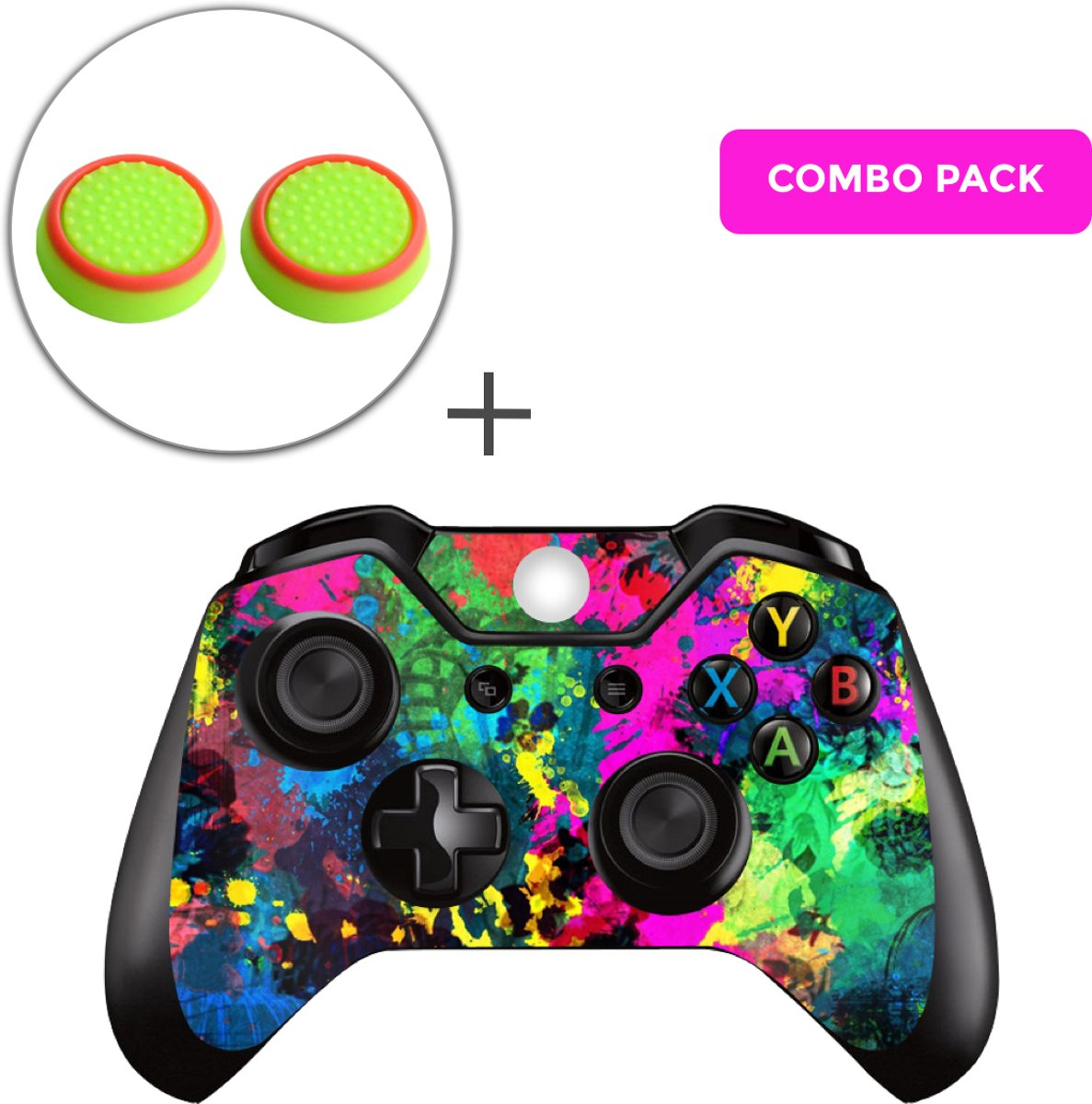 Color Splash Combo Pack - Xbox One Controller Skins Stickers + Thumb Grips