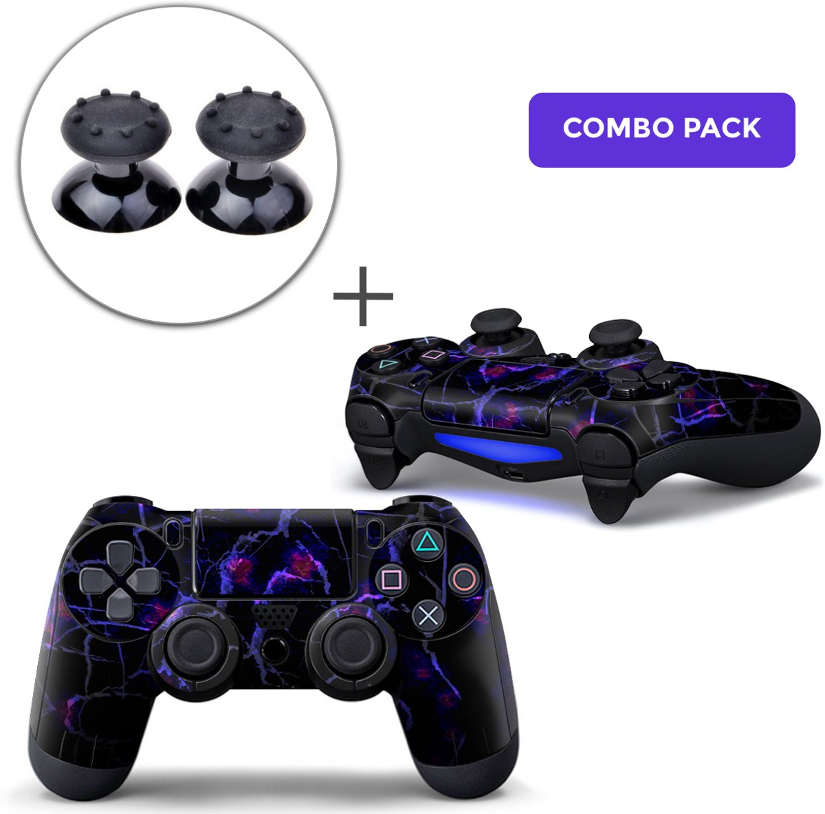 Dark Matter Combo Pack - PS4 Controller Skins PlayStation Stickers + Thumb Grips