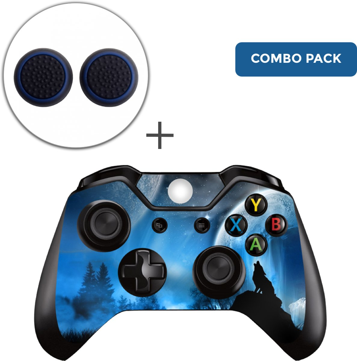 Dire Wolf Combo Pack - Xbox One Controller Skins Stickers + Thumb Grips