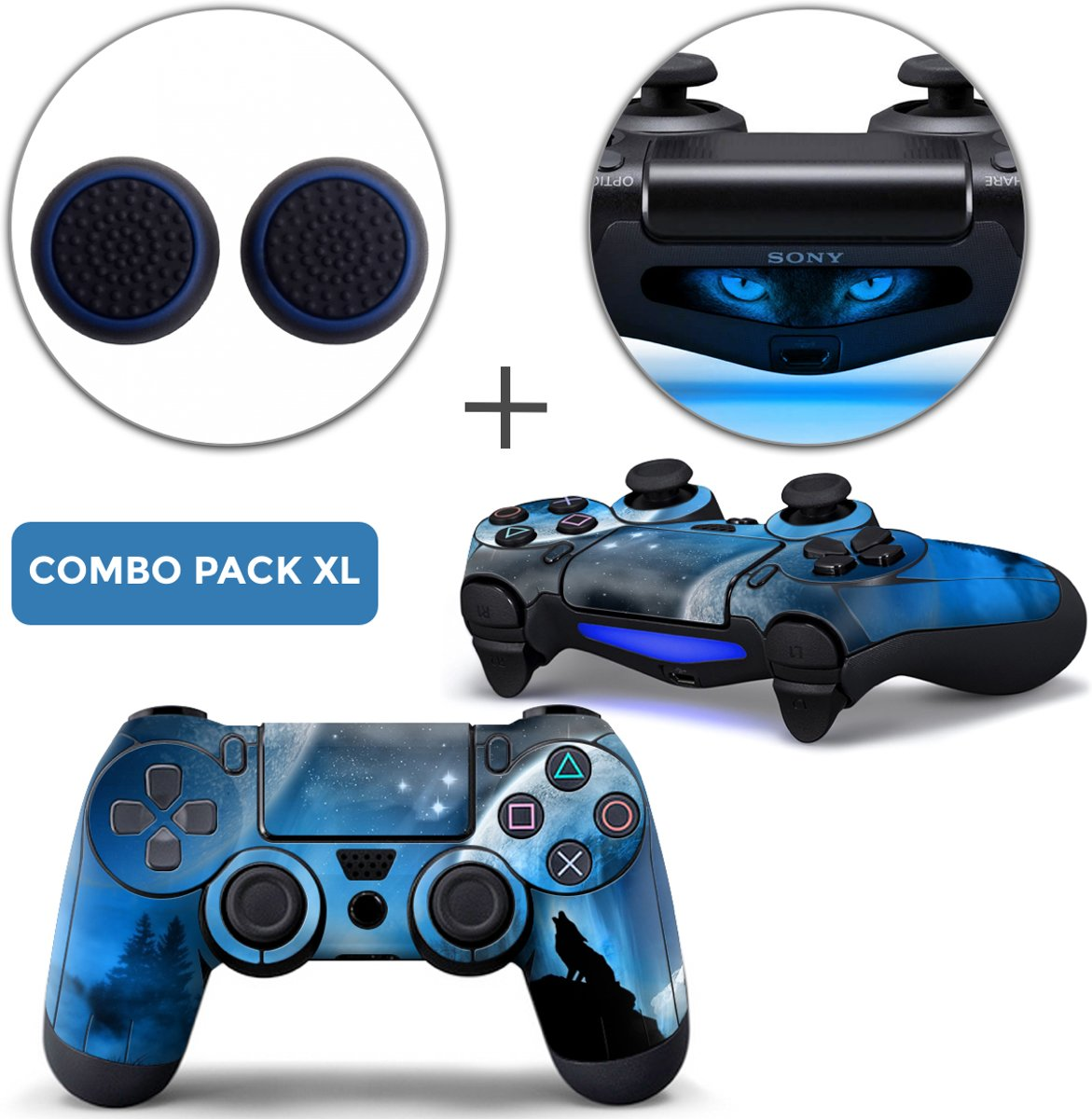Dire Wolf Combo Pack XL - PS4 Controller Skins PlayStation Stickers + Thumb Grips + Lightbar Skin Sticker