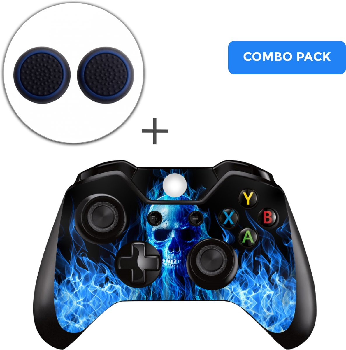 Fire Skull Combo Pack - Xbox One Controller Skins Stickers + Thumb Grips