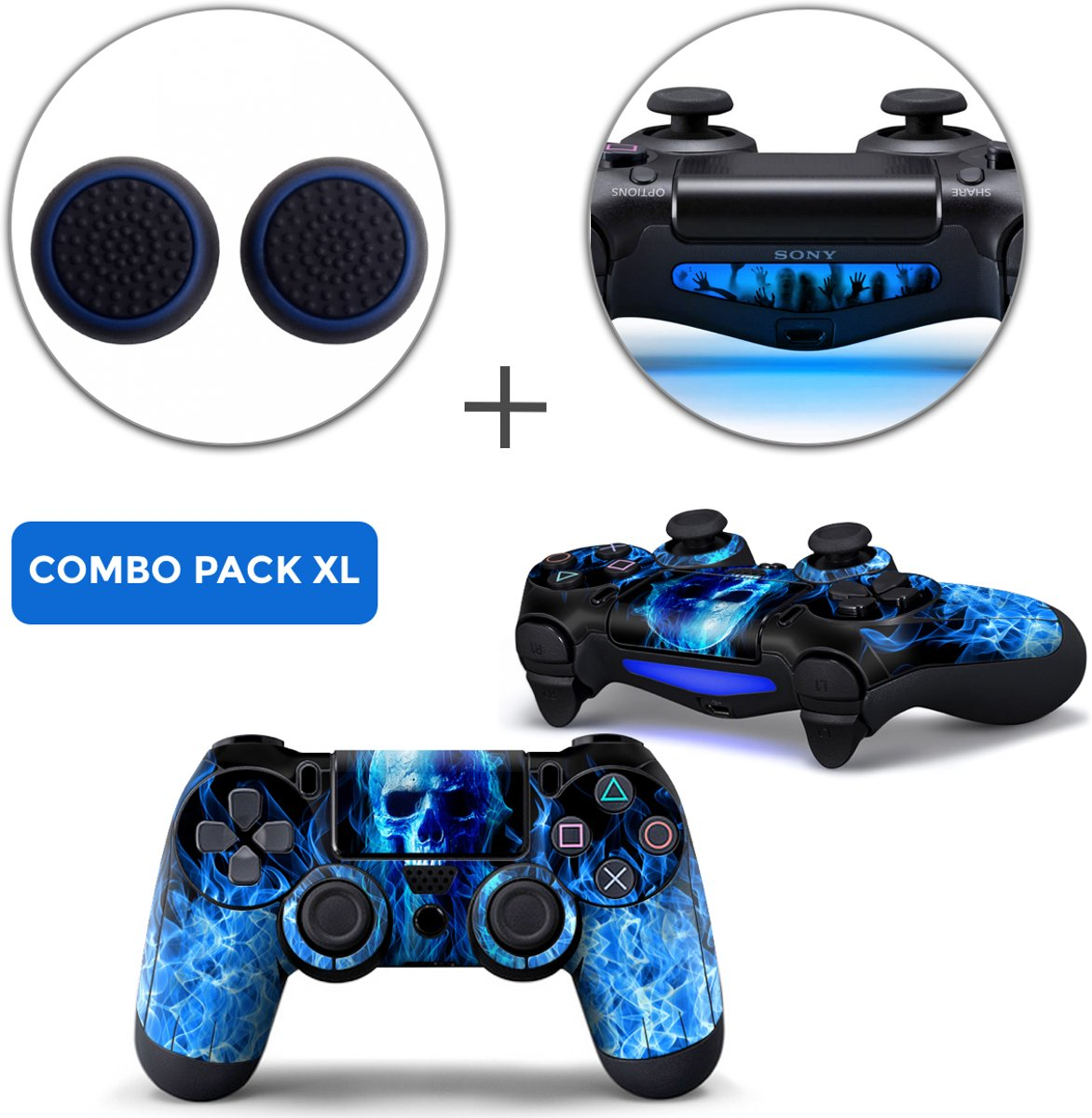 Fire Skull Combo Pack XL - PS4 Controller Skins PlayStation Stickers + Thumb Grips + Lightbar Skin Sticker