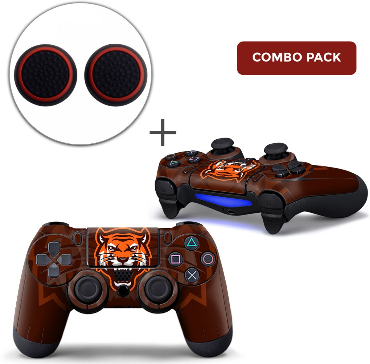 Gamer Tiger Combo Pack - PS4 Controller Skins PlayStation Stickers + Thumb Grips Zwart Rood