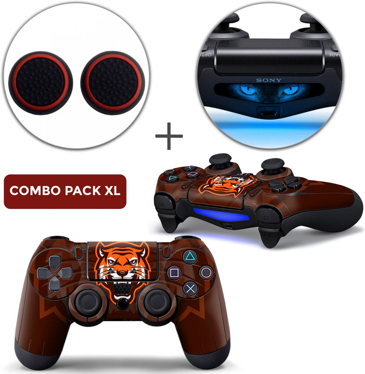 Gamer Tiger Combo Pack XL - PS4 Controller Skins PlayStation Stickers + Thumb Grips + Lightbar Skin Sticker