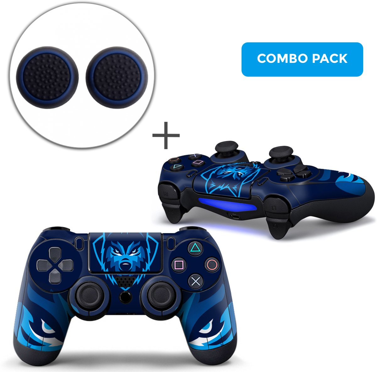Gamer Wolf Combo Pack - PS4 Controller Skins PlayStation Stickers + Thumb Grips