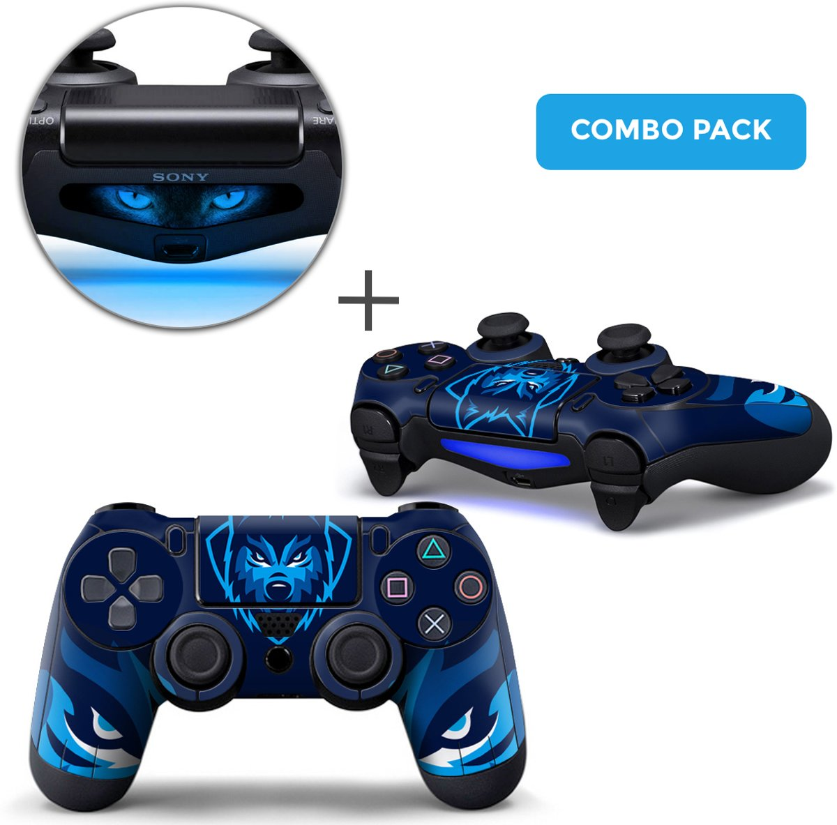 Gamer Wolf Combo Pack - PS4 Controller Skins PlayStation Stickers
