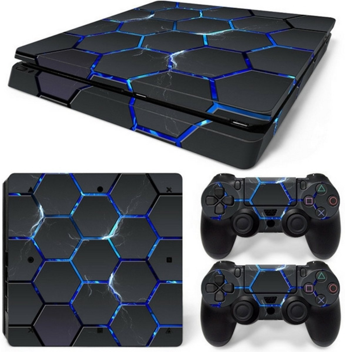 Hex Lightning - PS4 Slim Console Skins PlayStation Stickers