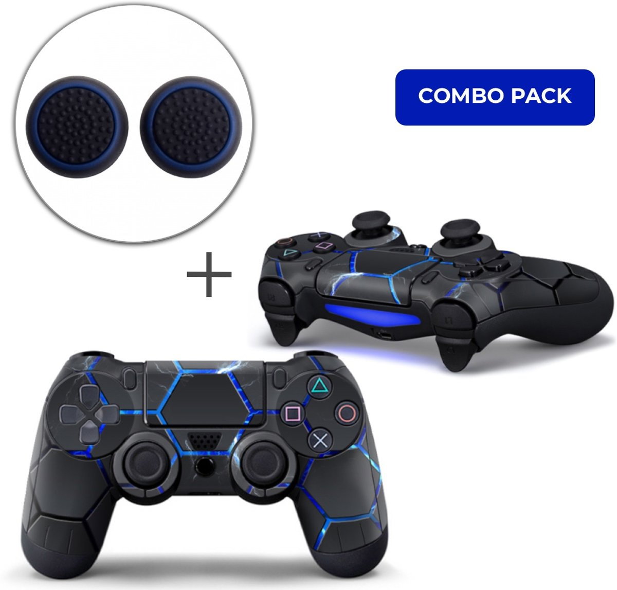 Hex Lightning Combo Pack - PS4 Controller Skins PlayStation Stickers + Thumb Grips