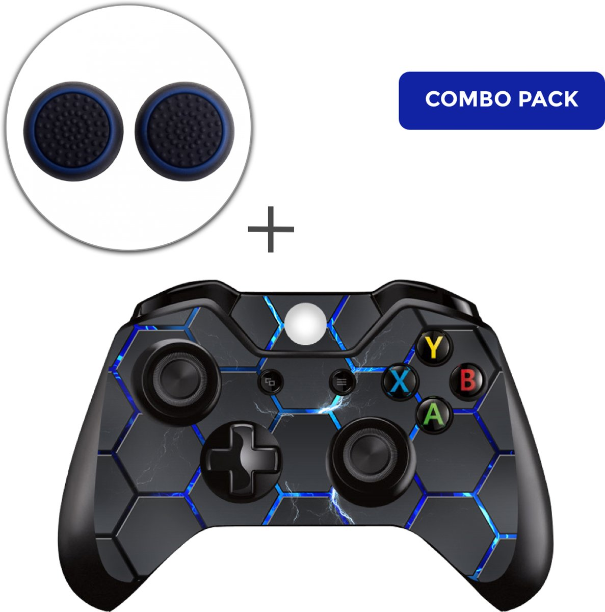 Hex Lightning Combo Pack - Xbox One Controller Skins Stickers + Thumb Grips