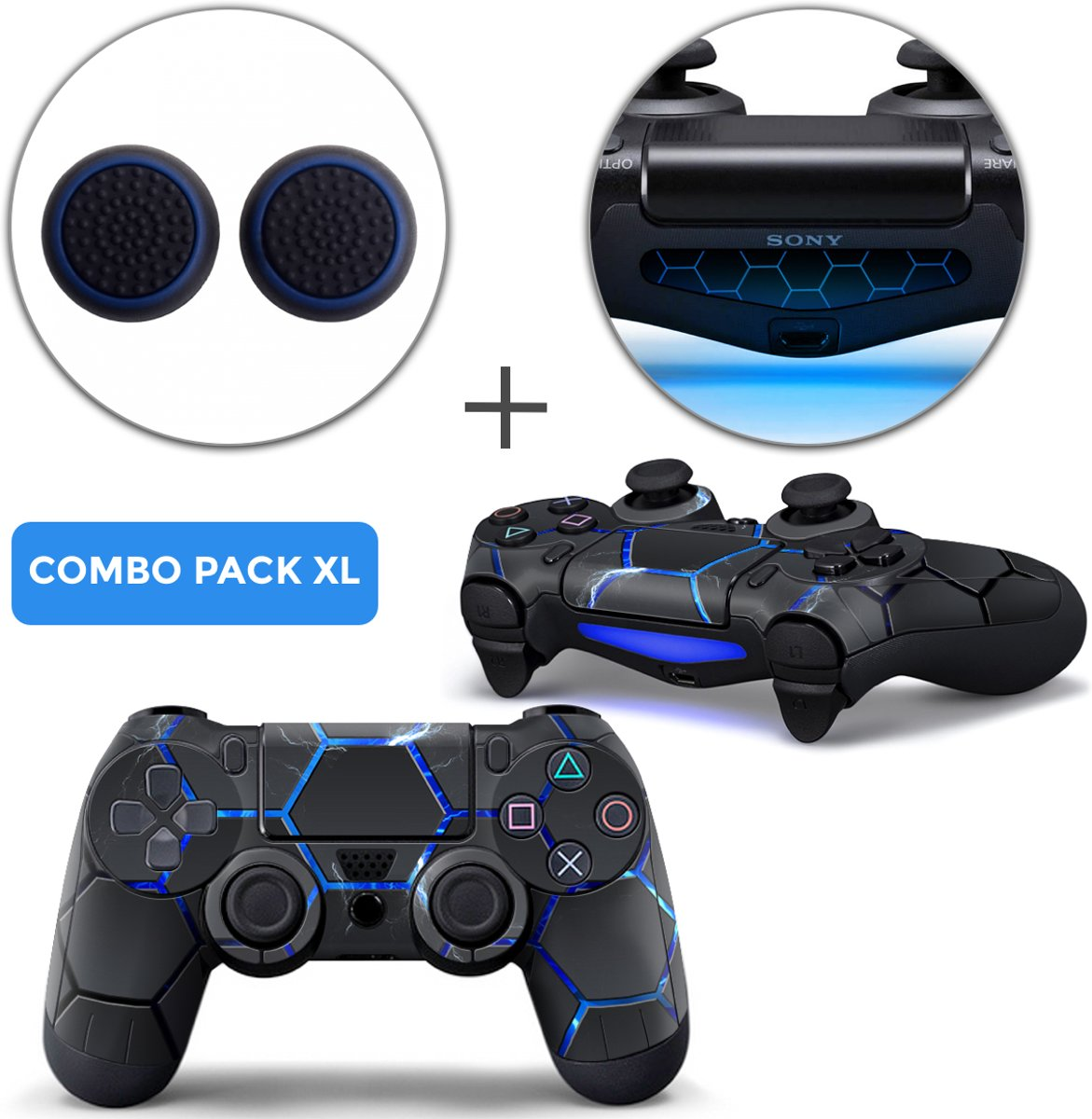 Hex Lightning Combo Pack XL - PS4 Controller Skins PlayStation Stickers + Thumb Grips + Lightbar Skin Sticker