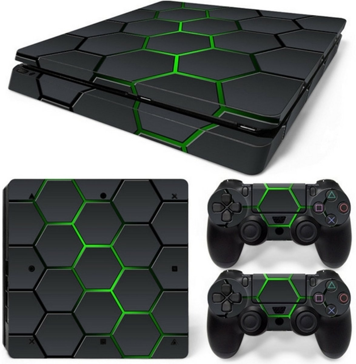 Hex Lime - PS4 Slim Console Skins PlayStation Stickers