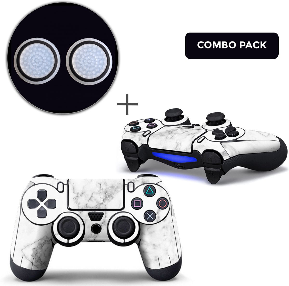 Marmer Wit Combo Pack - PS4 Controller Skins PlayStation Stickers + Thumb Grips