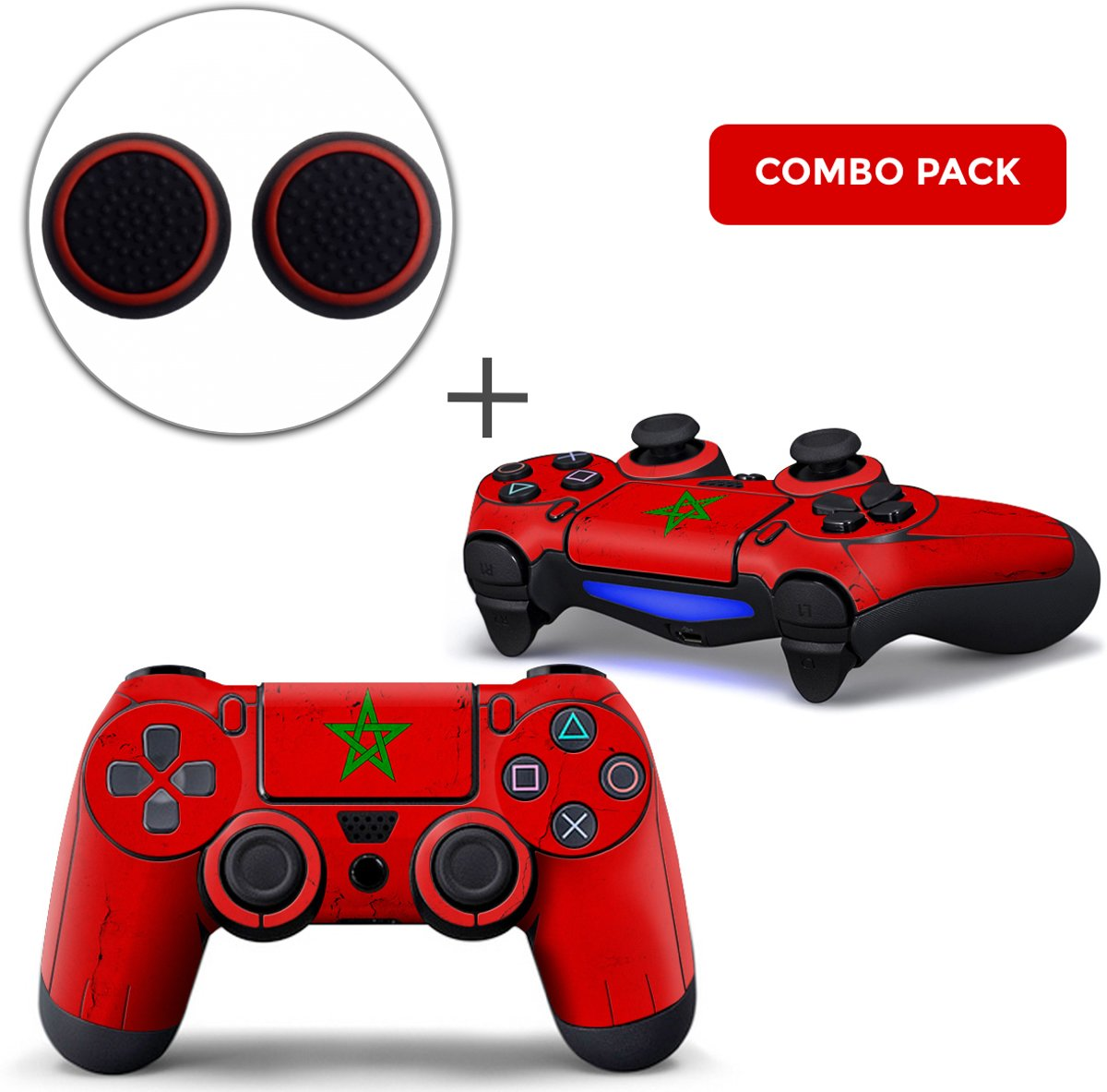 Marokko Combo Pack - PS4 Controller Skins PlayStation Stickers + Thumb Grips
